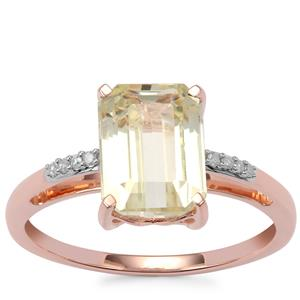 Canary Kunzite Ring with Diamond in 9K Rose Gold 3.27cts