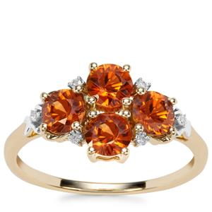 Cognac Zircon Ring with Diamond in 9K Gold 2.17cts