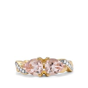 Alto Ligonha Morganite Ring with Diamond in 9K Gold 1.79cts