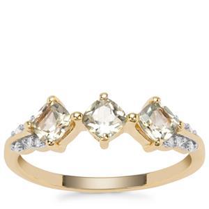 Csarite® Mali Garnet & Diamond 9K Gold  Ring ATGW 1.07cts