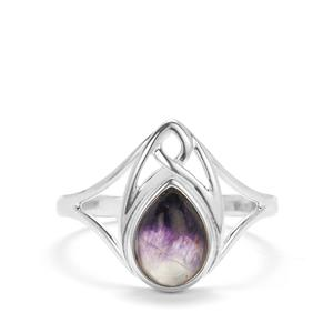 Blue John Ring with Mother of Pearl in Sterling Silver (8x6mm)