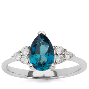 2.02cts Ceylonese London Blue Topaz Ring with White Zircon in Sterling Silver