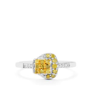 1/4ct Natural Yellow & White Diamond Sterling Silver Ring