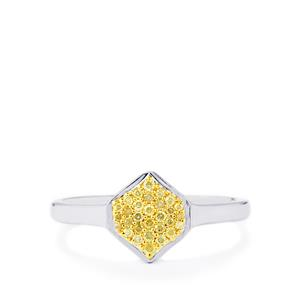 Natural Yellow Diamond Ring in Sterling Silver 0.17ct