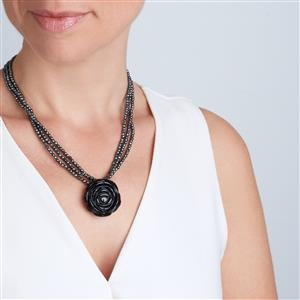Haematite Necklace with Black Agate in Sterling Silver 204.90cts