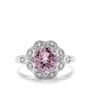 Minas Gerais Kunzite & White Topaz Sterling Silver Ring ATGW 3.26cts
