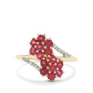 Cruzeiro Rubellite Ring with Diamond in 9K Gold 0.93cts