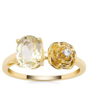 Minas Novas Hiddenite Ring with White Zircon in 9K Gold 1.66cts