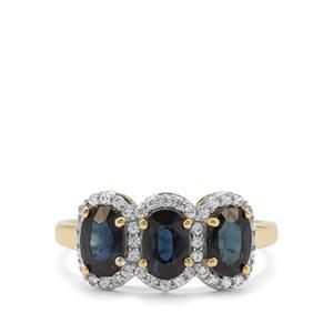 Australian Blue Sapphire & White Zircon 9K Gold Ring ATGW 2.20cts