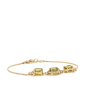 Ambilobe Sphene Bracelet with Diamond in 18K Gold 4.51cts