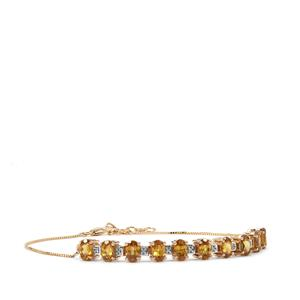 Morafeno Sphene Bracelet with Diamond in 10k Gold 4.97cts