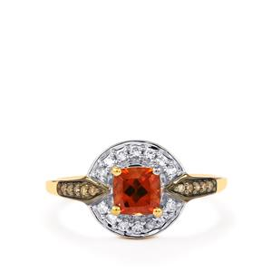 Zanzibar Sunburst Zircon, White Zircon Ring with Champagne Diamond in 10K Gold 1.22cts