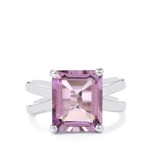 5.07ct Rose De France Amethyst Sterling Silver Ring
