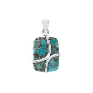 Blue Copper Mojave Turquoise Pendant in Sterling Silver 20cts