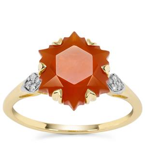 Wobito Snowflake Cut Orange American Fire Opal Ring with Diamond in 9K Gold 3.40cts