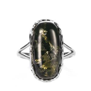 Baltic Green Amber Sterling Silver Ring (19 x 10mm)
