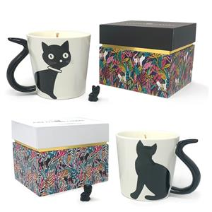 Gem Auras Cat Mug Candle with Carved Gemstone Cat ATGW 20cts. Two designs available