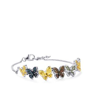 Multi-Colour Diamond Bracelet in Sterling Silver 1ct