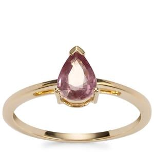 Padparadscha Sapphire Ring in 10K Gold 0.81ct