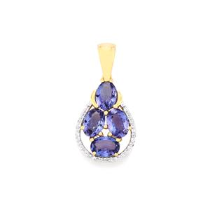 AA Tanzanite Pendant with Diamond in 18k Gold 2.91cts