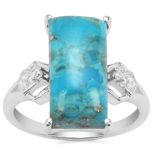 Bonita Blue Turquoise Ring with White Zircon in Sterling Silver 6.66cts