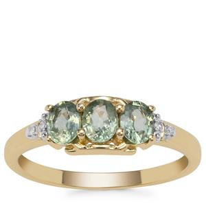 Green Sapphire Ring with Diamond in 9K Gold 0.97ct