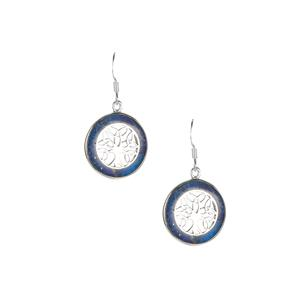 Sar-i-Sang Lapis Lazuli Tree of Life Earrings in Sterling Silver 5cts