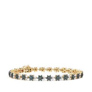 3.70ct Blue & White Diamond 9K Gold Tomas Rae Bracelet