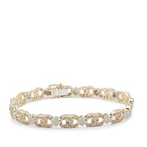 Champagne Diamond Bracelet with White Diamond in 9K Gold 2.95cts