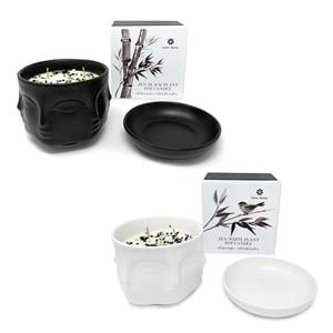 Gem Auras Monochrome Zen Flower Pot Candle - Obsidian & Howlite ATGW 50cts 01-Black / 02-White