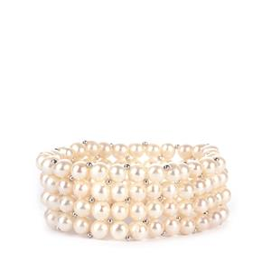 Kaori Cultured Pearl Sterling Silver Elastic Bracelet (7 x 6mm)