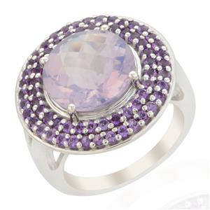 Lavender Quartz Ring with Amethyst in Sterling Silver 6.39cts