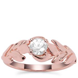 White Zircon Ring in Rose Gold Plated Sterling Silver 0.73ct