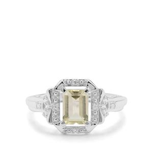 Citron Feldspar & White Zircon Sterling Silver Ring ATGW 1.10cts