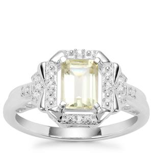 Citron Feldspar Ring with Natural Zircon in Sterling Silver 1.10cts