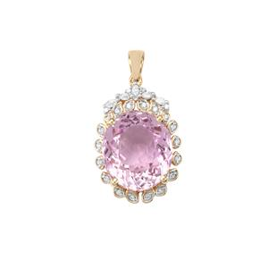 Mawi Kunzite Pendant with Diamond in 18K Gold 14.48cts