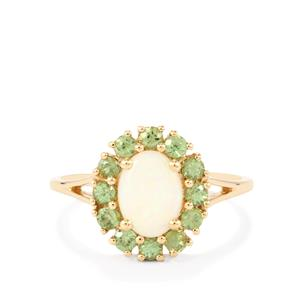Coober Pedy Opal Ring with Ambanja Demantoid Garnet in 9K Gold 1.37cts