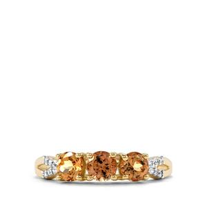 Natural Tanzanian Champagne Garnet Ring with White Zircon in 10K Gold 1.24cts
