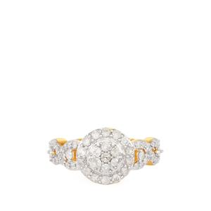 Diamond Ring in Gold Plated Sterling Silver 1.02cts