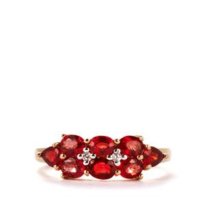 Winza Ruby Ring with White Zircon in 9K Gold 2.38cts