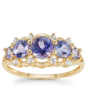 AAA Tanzanite Ring with White Zircon in 9K Gold 1.75cts