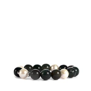 Kaori Cultured Pearl Elasticated Bracelet with Multi-Colour Agate in Sterling Silver