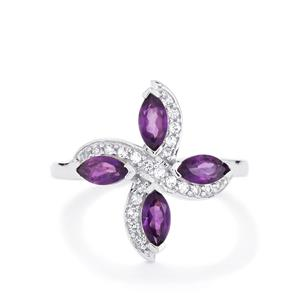 Zambian Amethyst & White Topaz Sterling Silver Ring ATGW 1.24cts