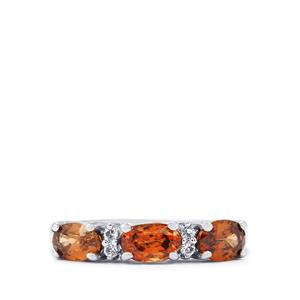 Cognac Zircon Ring with White Topaz in Sterling Silver 2.28cts