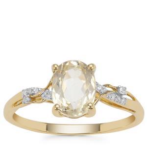 Minas Novas Hiddenite Ring with Diamond in 9K Gold 1.64cts