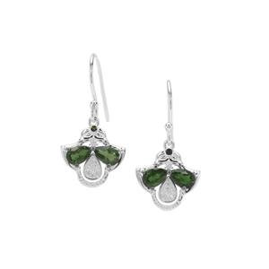 Chrome Diopside, Green Tourmaline & White Zircon Sterling Silver Earrings ATGW 2.02cts