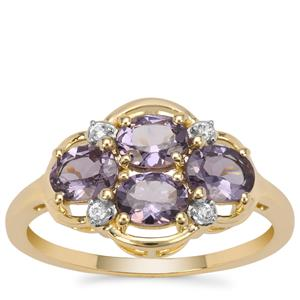 Mahenge Purple Spinel Ring with Natural Zircon in 9k Gold 1.45cts