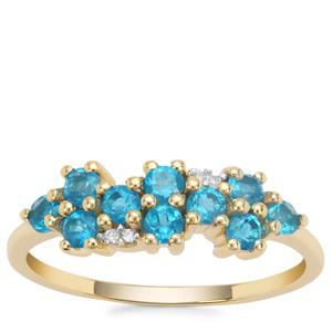 Neon Apatite Ring with White Diamond in 9k Gold 0.71ct