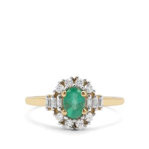 Colombian Emerald & White Zircon 9K Gold Ring ATGW 0.97ct