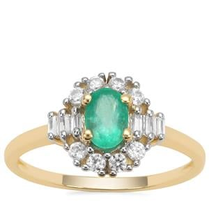 Colombian Emerald Ring with White Zircon in 9K Gold 0.97ct